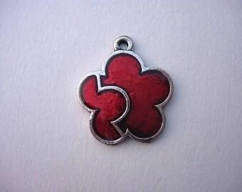 Red enameled metal flower charm