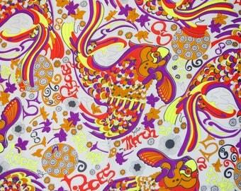 1970 Klopman Mills Pisces horoscope fabric - funky psychadelic fish pattern red neon yellow purple wavy fab 70's