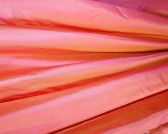 "Pure Silk Dupion Shantung Dupioni in CORAL yarn dyed shot fabric  137 cm (54 "") Wide 80 cm length"