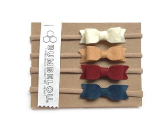 4 mini bows - One Size Fits All Nylon - Warm Neutrals