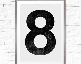 Number 8 print, Number art, Number wall art, Scandinavian, Number printable, Vintage poster, Digital print download, Personalised number