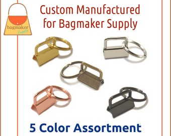 "1 Inch Deluxe Key Fob Hardware 5 Color Assortment, 1"", Purse Handbag Hardware Jewelry Craft Supply, KRA-AA016"