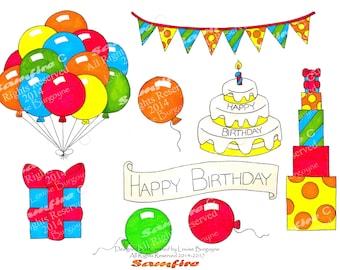 Happy Birthday Party - Balloons - Presents - Gifts - Cake - Banner - Bunting - Ribbon -Printable Clip Art - Card Making - Scrapbooking - Art