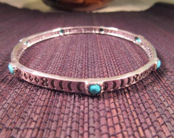 Tribal Sterling Silver Turquoise Bangle Bracelet