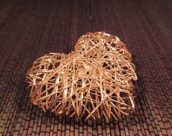 Spun Sterling Silver Heart Pendant - Italy