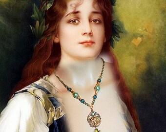 Necklace art nouveau, art nouveau necklace, ocean, art nouveau turquoise - colored OCEAN