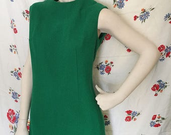 Kelly Green sleeveless mod Shift dress! vintage 1960s size 12
