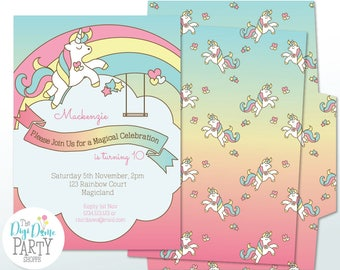 Rainbow Unicorn Printable Party Invitation in Pink, Blue & Yellow, 5x7in. Instant Download