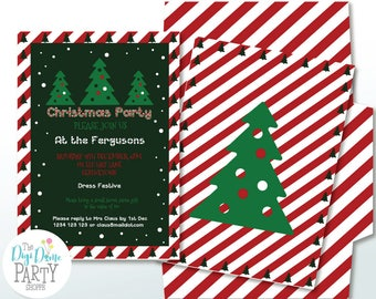 Christmas Trees Party Printable Invitation in Red & Green, 5x7in. Instant Download