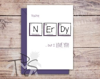 Printable Anniversary Card | Greetings Card | Periodic Table | Geek Geeky  Nerd Birthday | Valentineu0027s  Free Printable Anniversary Cards For Her