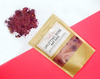 SALE! Uplifting Rose - Floral Bath Salts - Herbal Salt Bath, Bath Soak, Dead Sea Salt, Himalayan Salt, Epsom Salt - Choose Size