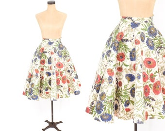 50s Circle Skirt | Creme Floral Felt Circle Skirt | Koret of California | Small