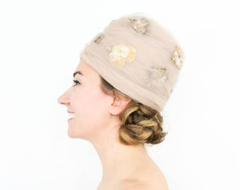 60s Beehive Hat   Beige Tulle Beehive Hat   Pansy Hat   Play Topper