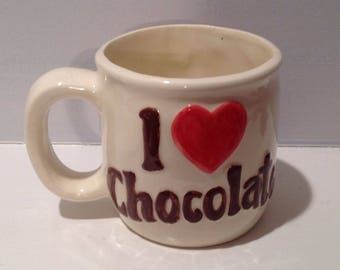 "Hand-Made  Slip-Mold Mug:  ""I Love Chocolate"""