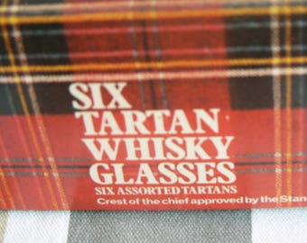 Six Assorted Tartan Whisky Glasses by Dema - Superb Gift for a Scottish Friend!