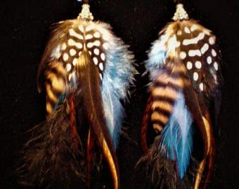 Black And Blue Feather Earrings