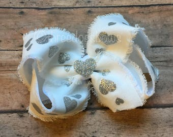 "XL 6""+ Heart Bow, White and Silver Hair Bow, Silver and White Bow, Wedding Bow, Wedding Hair Bow, Flower Girl Bow, White with Silver Hair"