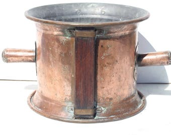 Large French Antique copper bucket,Measure , Copper jardiniere,stamped   Goardere