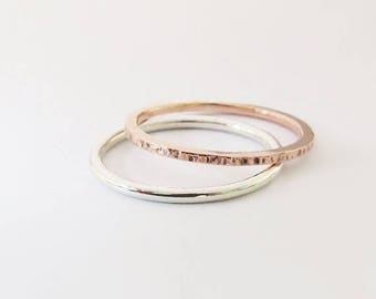 Summer sale 25% Off Mixed Stacking Rings - Mixed Metal Silver & Copper Stacking Ring Set of 2 Rings - Sterling Silver Stacking Rings