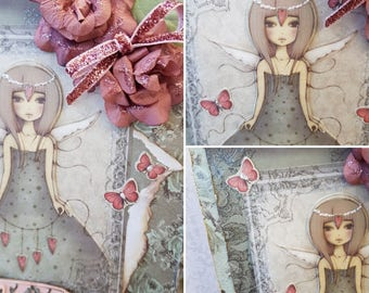 Love Angel handmade Santoro Greeting Card for her, Dusky Rose pink and pale green 3D blank card for a girlfriend or daughter