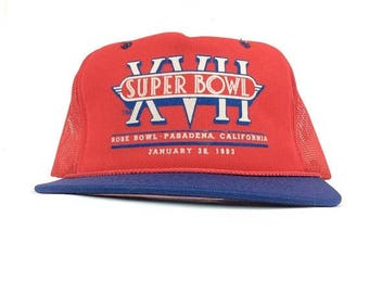 On Sale Now 1983 NFL Super Bowl XVII Rose Bowl Pasadena California Red Trucker Hat Cap Snapback Adult Size Polyester