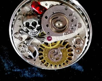 Steampunk Skull and Watchparts Heavy Brooch