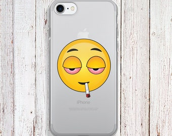 Clear Phone Case - PIE EYED EMOJI Phone Case - weed phone case - iPhone Regular case
