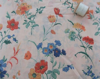vintage floral cotton lawn dressmaking fabric