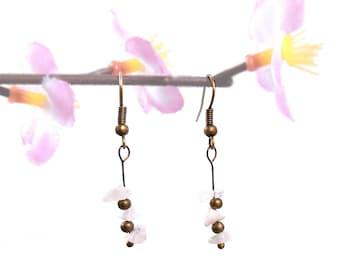 Simple jewelry, moonstone earrings, organic jewelry, earthy earrings, nature stone jewelry, simple bronze earrings, moonstone jewelry vyc