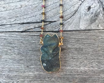 Fox Necklace // Wolf Necklace // Carved Labradorite Necklace