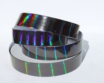 "1"" Black Metallic Rainbow Color Morph Hula Hoop Tape - Decorative Tape - Fish Lure Tape - 50ft, 100ft, and 150ft rolls"