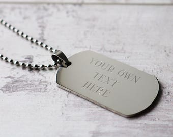 Gift For Him - Personalised Dog Tag Necklace