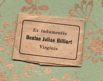 SAINT JULIE BILLIART second class clothing relic in wax sealed folded envelope. Free postage to any Uk or Ireland address