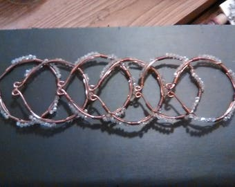Solid Copper and Swarovski clear bicone crystal Cuff Bracelet or Hair Jewelry