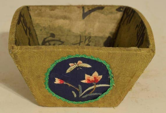 Chinese Rice Measure China Silk Fabric Flower Applique Adorned Box Rice Measure