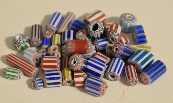 Beads African Assorted Small Chevron Glass Beads Necklaces Jewelry Bracelets Blue Green Red Beads