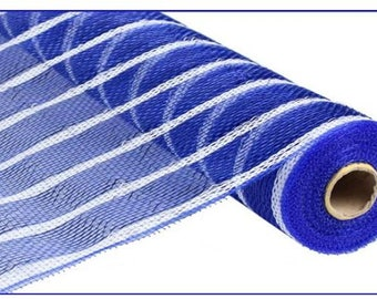 "21"" Blue White Stripe Deco Mesh, Blue White Metallic Thin Stripe Deco Poly Mesh, Deco Poly Mesh Wreath Supplies (10 yards) - RE1033N6"