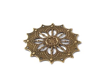 43 mm bronze filigree flower color print / ES010