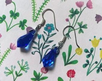 Blue Swarovski Crystal Droplet Earrings
