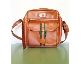 70s Vegan Satchel, Shoulder Bag, Faux Leather, Tan, Pleather.