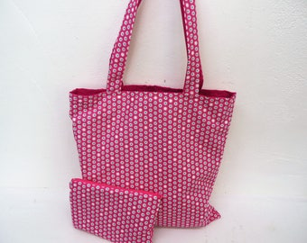 Tote bag fabric pink white flowers