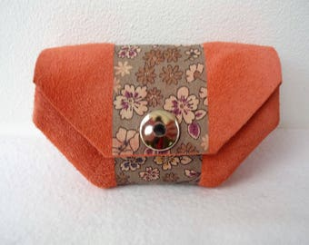 Split salmon pink leather wallet woman