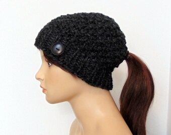 Ponytail Beanie with Hole Ponytail Hat Charcoal Gray Low Ponytail Hole Hat Chunky Knit Gift for Her Made in Alaska Winter Running Active Hat