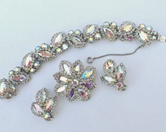 REDUCED WEISS Bracelet Brooch earring set aurora borealis clear rhinestones AB047
