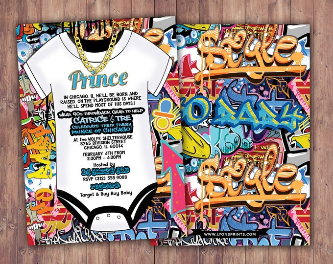 Fresh Prince, Baby Shower, Hip Hop, Swagger, 90's, backstage pass, Push it shower, birthday invitation, Graffiti, birthday, DJ, 90's party
