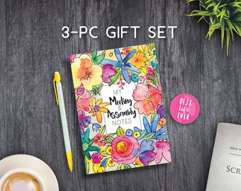 3 PC GIFT SET: My Meeting and Assembly Notes - Floral - jw gifts - best life ever - bestlifeever - jw org - witness pioneer gift