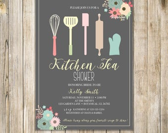 FLORAL KITCHEN TEA Shower Invitation, Kitchen Shower Invite, Stock the Kitchen Invites, Kitchen Bridal Shower, Wedding Shower, Kitchen Tools