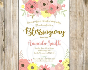 Yellow Pink BLESSINGWAY Invitation, Mothers BLESSING Invite, Floral Blessing Way Invites, Floral Baby Shower, Bless the Mommy, Baby Blessing