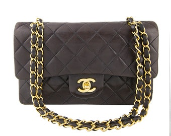 Vintage Chanel 2.55 Double Flap Brown Quilted Leather Shoulder Bag.