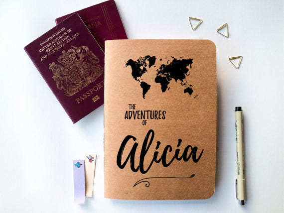Personalised travel journal travel journal with world map like this item sciox Images
